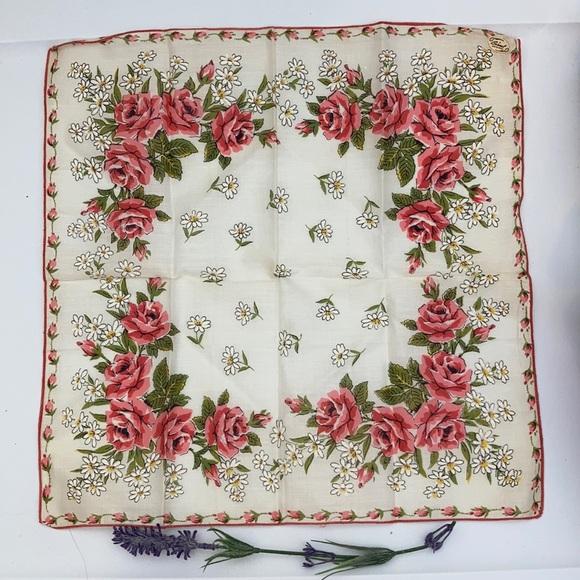 Vintage Cottagecore Roses Handkerchief